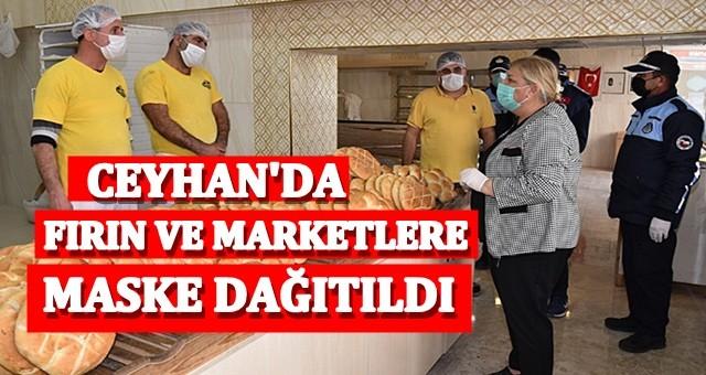 Ceyhan'da fırın ve marketlere maske dağıtıldı