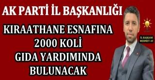 AK Parti İl Başkanlığı'nda 2000 koli gıda yardımı